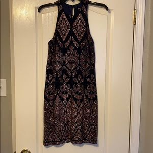 Navy and rose gold cocktail dress